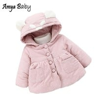 AmyaBaby Baby Girls Jacket 2017 Winter Outerwear For Newborns Thick Warm Girls Winter Coats Long Sleeve Hooded Dot Baby Clothing