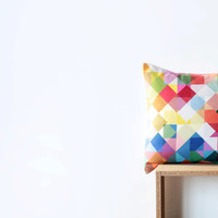 Bright Geometric Pillow Cover with Strawberry Red, Blue, Aqua, Green, Yellow, Orange, Pink, Brown and White Squares - Bright Pillow Cover
