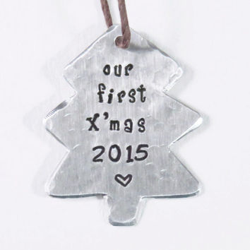 2015 Our first Christmas together tree ornament - newlyweds X'mas ornament 2015 - Textured couple first Xmas for sweethearts