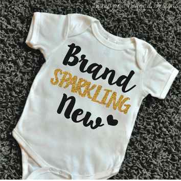 Brand Sparkling New Shirt Baby Girl Clothes Hipster Baby Clothes Baby Girl Shirt Baby Girl Bodysuit Gold Glitter Shirt Baby Shower Gift 059