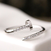 Tiny Crystals Thin Nail Ring Adjustable Open Ring Unique Funny Ring gift idea Free size byr27