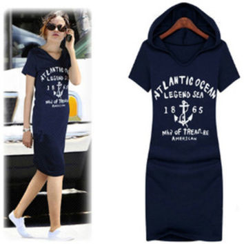 New Fashion Women Dress Casual Hooded Basic Cotton Print Bodycon Summer Dress Loose Knee Length Lady Sport Dresses Plus Size 4XL