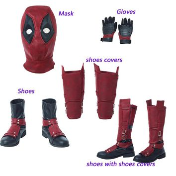 Hot Cakes Deadpool 2 Cosplay Costume Mask Gloves Shoes Leg Guard Halloween Accessories