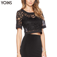 YOINS 2016 New Black Lace Crochet Crop Top V Cut Out Back Women Short Tee Sexy Hollow Out Party Night Club Tank Top Plus Size