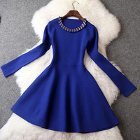 Long Sleeve Wool Beaded Short Dress in Blue
