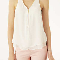Sleeveless Zip V-neck Top - New In This Week  - New In