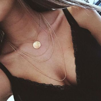 2017 Multi Layer Gold Color Necklaces For Women Long Chain Beads Necklace Simple Chokers Jewelry Collier Femme collar