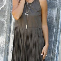 Deep Grey Suedette Fringe Overlay Dress
