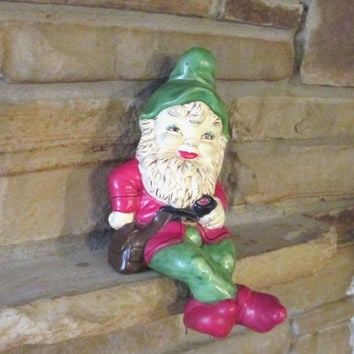 1972 Christmas ELF SHELF SITTER,  Vintage Hand Painted Ceramic Christmas Decor, Red Green Santa's Elf, Large Christmas Elf Figurine, Gnome
