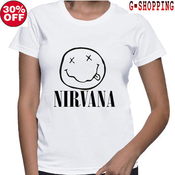 Nirvana  Shirts women Logo NIRVANA  Smiley Face   gift   TShirt Long women T Shirts