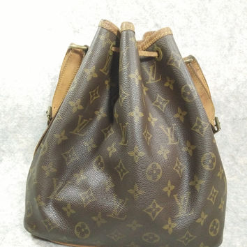 Sale 150usd,Free Shipping Auth LOUIS VUITTON Noe MM Vintage1989, Shoulder Bag, Handbag, Cowhide Tan Brown,not beautifel but strong to useful