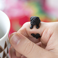 YaciKopo handmade Pug dog ring black / silver / golden colour