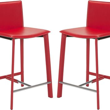 """Janet 24"""" Counter Stool (Set Of 2) Red"""