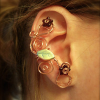 Pair of Copper Flower and Swirl Ear Cuffs, non pierced earring option 2 ear cuffs in this listing