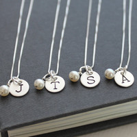 FIVE Personalized Bridesmaids Gifts, Bridesmaids Initial Necklaces Set of 5, Personalized Bridesmaids Jewelry Bridal Party Gifts
