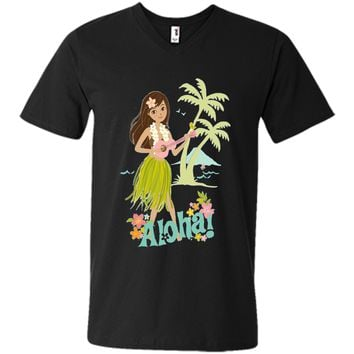 Vintage Hawaiian Hula Girl Shirt Tropical Beach Aloha