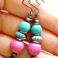 Boho Earrings - Boho Jewellery - Wire Wrapped Earrings - Pink Earrings - Turquoise Earrings - Hippie Earrings