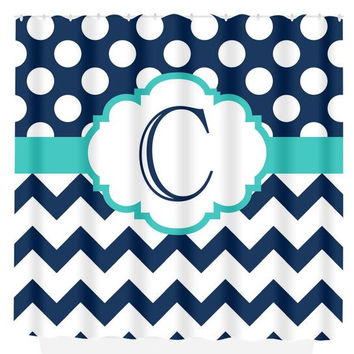 Navy Turquoise SHOWER CURTAIN Chevron Polka Dot Custom MONOGRAM Personalized Bathroom Decor Bath Beach Towel Plush Bath Mat Made in Usa