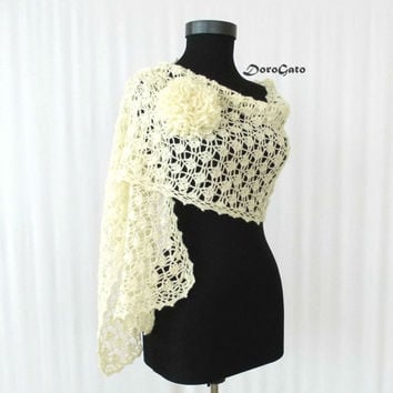 Ivory crochet shawl, Bridal Shawl, ivory lace shawl, Handmade and Unique Design, cream wraps shawl, ivory scarf, bridal stole