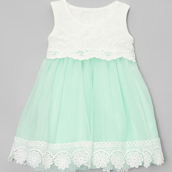 Chicaboo Mint Vintage Lace Tank Dress - Infant & Toddler | zulily