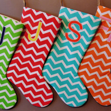 Chevron Christmas Stockings, Personalized Chevron Stocking, Customizable Chevron Stocking, Chevron