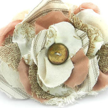 shabby fabric flower pin brooch blush cream champagne gold bridal burlap toile flower embellishment hair accessory hat embellishment
