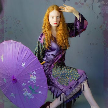Hippie beaded silk fringe kimono / soft purple peacock long velvet jacket / Stevie Nicks encrusted opera coat