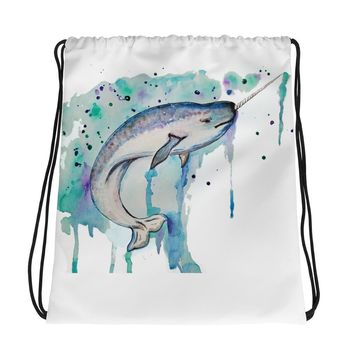 The Real Unicorn - Narwhal Whale Drawstring bag