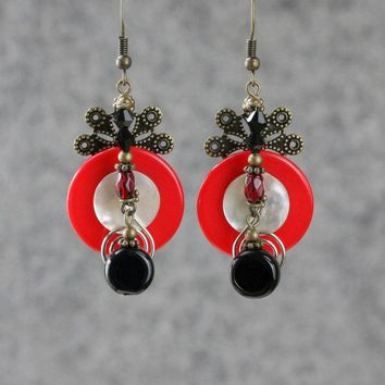 Statement red button copper big earrings Bridesmaid gifts Free US Shipping handmade Anni designs