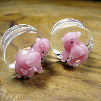 "Pink Elephant Plugs Pyrex Glass  00g 7/16"" 1/2"" 9/16"" 5/8"" 3/4"" - 1"" 9.5 mm 10 mm 11 mm 12 mm 14 mm 16 mm 18 mm - 25 mm"