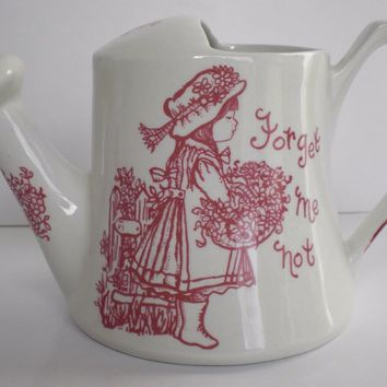 Red / Pink English Ironstone Watering Can Pitcher Forget Me Not Girl w/ Flowers