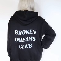 Aesthetic Tumblr Casaul Broken Dreams Club Hoodies Graphic Cotton Pullover Trendy Unisex Spring Clothing Sweatshirt Outfits