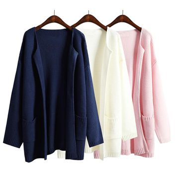2018 Autumn And Winter Women Sweater Jacket Solid Color No Button Female Loose Long Sweaters Navy Blue Pink Knitted Cardigan