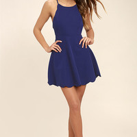 Play On Curves Royal Blue Backless Dress