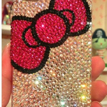 Bling Bling iphone 4 case,bowtie iphone 5 cover handmade,crystal iphone 4s cover handmade,samsung galaxy s3 case,galaxy s4 case