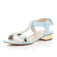 River Island Womens Light blue stud T-bar sandals