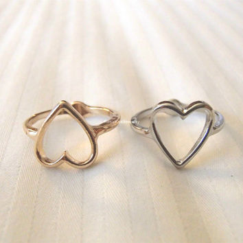 Sweetheart rings - Gold and Silver, knuckle rings, midi rings, mini rings, silver ring, gold ring, infinite love, minimalist ring, heart