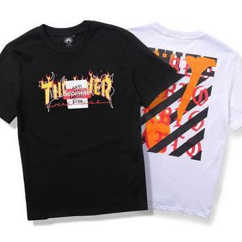 OFF WHITE Stripes Short Sleeve T-shirts [11501031244]