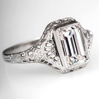Delicate Art Deco Emerald Cut Diamond Engagement Ring 14K White Gold