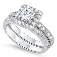 Sterling Silver CZ Halo 1 carat Channel Set Band Princess Cut CZ Wedding Ring Set 5-10
