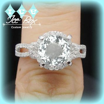 White Sapphire Engagement Ring 3.25ct Round set in a 14k White gold diamond halo split shank setting