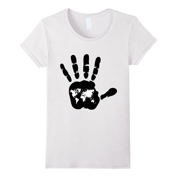 World Map Hand Print T-Shirt Abstract ID Tee
