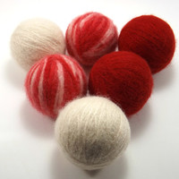 Felted Wool Dryer Balls - Red and White Laundry Balls - Eco-Friendly Laundry Balls - Chemical Free Laundry - Money Saving - Wool Cat Toys