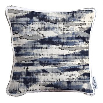 Stains & Stripes Abstract Decorative Throw Pillow w/ Silver & White Reversible Sequins   COVER ONLY (Inserts Sold Separately)