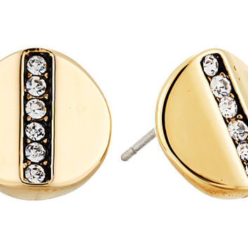 Cole Haan Round Pave Bar Stud Earrings Gold/Crystal - Zappos.com Free Shipping BOTH Ways