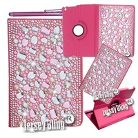 iPad Mini Case w/Pink 3D GEMS Pearls Crystals & Rhinestones on HOT PINK PU Leather Folio wi/Built-in Stand & Stylus