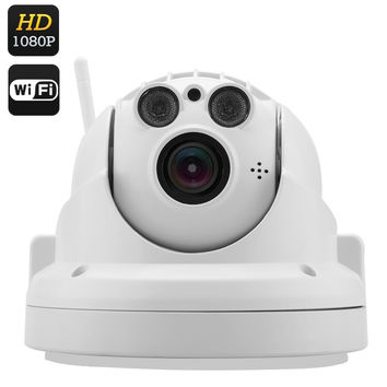 Wireless PTZ IP Camera -  1080p FHD Recording, 4x Optical Zoom, H.264 Compression, 40M Night Vision, IR CUT, Phone Support