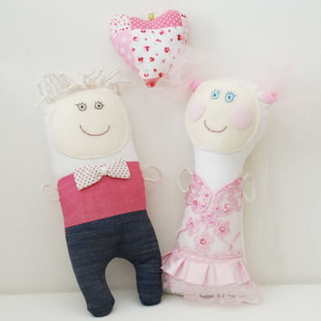Gift for Wedding Couple, Bride and Groom, Handmade Dolls, Doll Ooak, Cotton Rag Dolls, Wedding Gift, Cloth Stuffed Dolls, Rag Textile Dolls