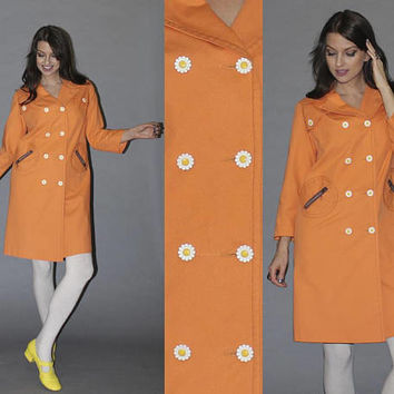 Vintage 60s MOD CREAMSICLE ORANGE Rain Jacket / Groovy Daisy Buttons, Round Pockets / Lightweight Flower Power Jacket / Rare, Ooak / M L
