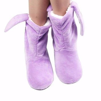 Winter Warm Indoor Slipper For Women's Fashion Home Soft Shoes With Ears Style